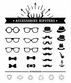 Hipster style and accessories icon set