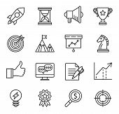 goal startup, business solution icons