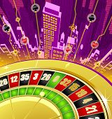 picture of fantastic  - Abstract gambling background with roulette wheel and fantastic city - JPG