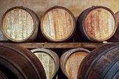 pic of fermentation  - Oak barrels in a cellar where the wine is aged after fermentation - JPG