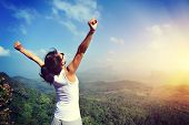 stock photo of open arms  - young woman cheering open arms at mountain peak - JPG