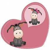 pic of donkey  - Greeting card cute boy donkey dreaming of girl donkey on the background of a heart - JPG