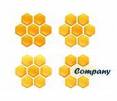 image of honeycomb  - Set of Honeycomb logo isolated on white background Vector Illustration in style design - JPG