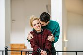 stock photo of she-male  - Young Stylish couple in love at their luxurious home - JPG