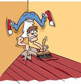 stock photo of proverb  - Cartoon Humor Concept Illustration of Painting Yourself into a Corner Saying or Proverb - JPG
