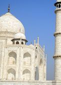 image of mausoleum  - Iconic perspective angle of the Taj Mahal mausoleum in Agra - JPG