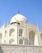 stock photo of mausoleum  - Close perspective angle of the Taj Mahal mausoleum in Agra - JPG