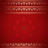 stock photo of indian sari  - Traditional red Indian henna pattern saree banner with mandala and space for text - JPG