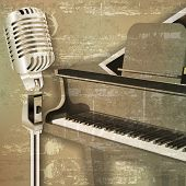 picture of grand piano  - abstract green sound grunge background with grand piano and microphone - JPG