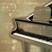 stock photo of grand piano  - abstract green sound grunge background with grand piano - JPG