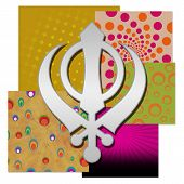 picture of khanda  - Sikh religious symbol over various colorful backgrounds - JPG