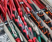 stock photo of wire cutter  - pliers pincers and cutters for sale in hardware store - JPG