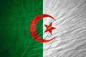 foto of algeria  - Algeria flag or Algerian banner on wooden texture - JPG