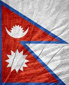 picture of nepali  - Nepal flag or Nepali banner on wooden texture - JPG