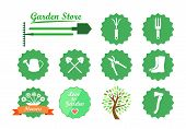 image of ripper  - Green Icons in Flat Style with Many Instruments and Elements for Design - JPG