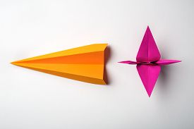 picture of float-plane  - row of colored paper origami plane and crane - JPG