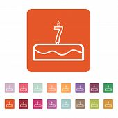 stock photo of number 7  - Cake with candles in the form of number 7 icon - JPG