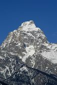 Grand Teton Mountain Peak With Snow And Sky
