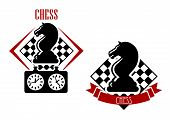 stock photo of chessboard  - Chess tournament badges with black horses and game clock with chessboards on the background adorned with red ribbon banner - JPG