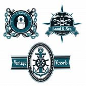 image of spyglass  - Vintage nautical emblems or badges with anchors - JPG