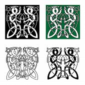 picture of celtic  - Ancient celtic animal ornaments with twisted dragons in tribal style for tattoo or totem animal design - JPG