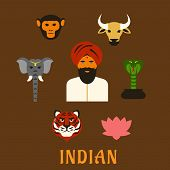 picture of indian  - Indian animals of worship and national symbols in flat style with indian man in turban with holy cow - JPG