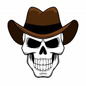 picture of halloween characters  - Spooky cowboy skull character with classic brown felt hat in cartoon style for tattoo - JPG
