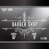 foto of barbershop  - Vintage barber shop window advertising design template - JPG