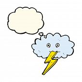stock photo of lightning bolt  - cartoon lightning bolt and cloud with thought bubble - JPG