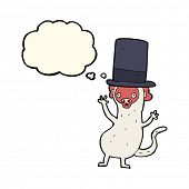 stock photo of top-hat  - cartoon monkey in top hat with thought bubble - JPG