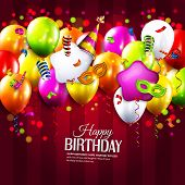 picture of birthday hat  - Vector birthday card with colorful balloons - JPG