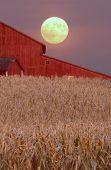 Harvest Moon Over Barn