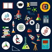 image of processor  - Science and education flat icons with laboratory equipment - JPG