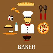 foto of baguette  - Baker profession flat concept with man in toque - JPG