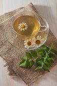 stock photo of chamomile  - cup of chamomile tea with chamomile flowers on flap of burlap - JPG