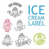image of ice cream parlor  - Set Of Line Ice Cream Shop Logo Badges And Labels - JPG