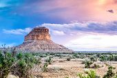picture of butt  - Beautiful sunset over a golden Fajada Butte