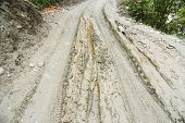 picture of mud  - closed up the mud path on village in Nepal - JPG
