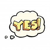 image of yes  - cartoon yes symbol with thought bubble - JPG