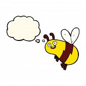 foto of bee cartoon  - funny cartoon bee with thought bubble - JPG