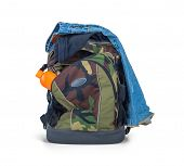 picture of camouflage  - Isolated Army Camouflage Backpack And Clothes On White Background - JPG