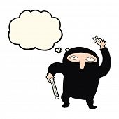 picture of ninja  - cartoon ninja with thought bubble - JPG