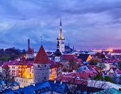 stock photo of olaf  - Aerial view of Tallinn Medieval Old Town with St - JPG