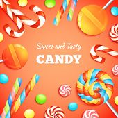 foto of lollipop  - Sweets background with realistic candies lollipops and bonbons vector illustration - JPG