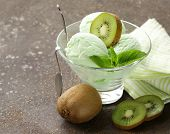 foto of mint-green  - fruit creamy ice cream with green kiwi and mint - JPG