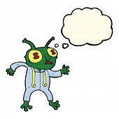 pic of spaceman  - cartoon alien spaceman with thought bubble - JPG