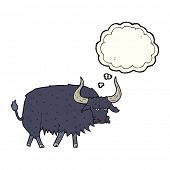 stock photo of annoyance  - cartoon annoyed hairy ox with thought bubble - JPG