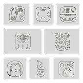 Постер, плакат: set of monochrome icons with American Indians relics dingbats characters