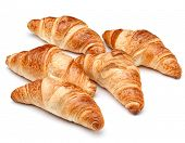 stock photo of crescent  - Croissant or  crescent roll isolated on white background cutout - JPG