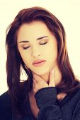 pic of throat  - Charming young woman with terrible throat pain - JPG